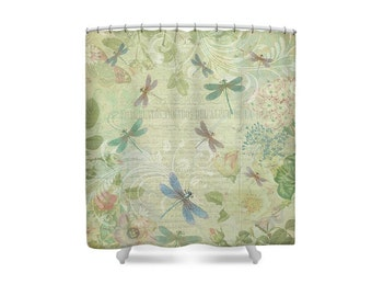 Yellow Bathroom, Yellow Shower Curtain, Dragonfly Shower Curtain, Dragonflies, Dragonfly Decor,Botanical Decor,Botanical Art,Pastel Bathroom