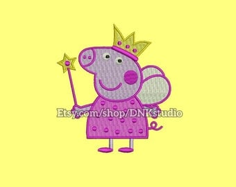 Peppa Pig Machine Embroidery Design - 5 Sizes - INSTANT DOWNLOAD