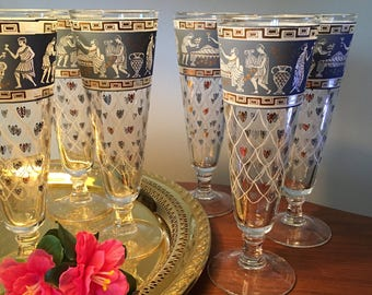 Set of six Etruscan Frieze tall pilsners by Cera Glass with 22k gold gilt