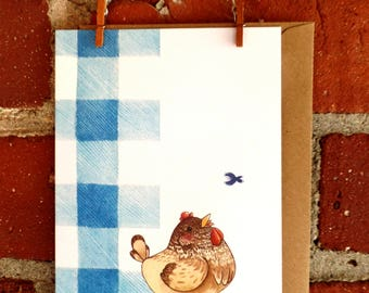 Illustrated Hen Greeting Card notecard stationery blank