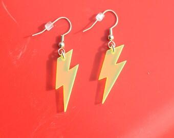 Lightening Earrings, Thunderbolt Earrings, Yellow Earrings, Weather Earrings, Lightning Earrings, Bolt Earrings