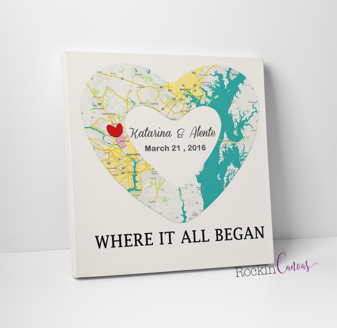 Wedding Gift Canvas Art : Personalized Map Art Custom Canvas Wedding Gift Anniversary