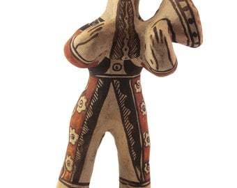 Vintage Guerrero, Mexican Folk Art Figurine, Man with Musical Instrument