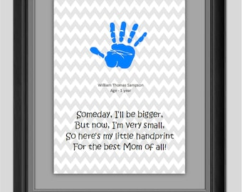 Gift for Mom Handprint Printable INSTANT DOWNLOAD Art Wall Decor 8x10 inches gray Poem Digital