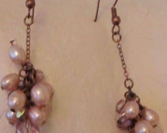 "vintage coppertone metal dangling earrings 2.25""drop with pink faux pearls/stones"