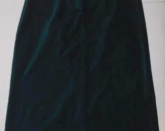 Long Dark Green Velvet Skirt Talbots 14 Petite Front Zip Back slit Cotton Spandex Flared A-Line