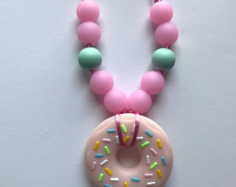 Chompy Kids Donut Necklace-Pink