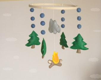 Pine tree baby mobile Camping nursery mobile  Woodland baby mobile Cot mobile Hanging crib mobile Boy mobile Girl mobile Felt balls