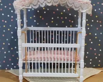 Vintage Dollhouse Miniature White and Pink Crib with Gingham and Lace Canopy 1:12