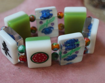 Mahjong Bracelet/Vintage Mahjong Bracelet/ Stretch Tile Bracelet:Mahjong/Mahjong Charm Bracelet