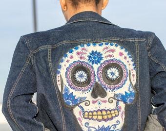 Hand Painted Sugar Skull Denim Jean Jacket Custom Day of the Dead M/L Womens