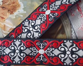 "Woven Jacquard Ribbon Trim | 1-1/2""  Heavyweight tapestry type ribbon | red~black~tan"