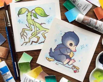 LIMITED TIME OFFER  Fantastic Beasts and Where To Find Them Niffler and Pickett Watercolor Print Bundle by Michelle Coffee