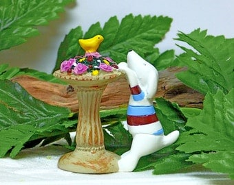 Miniature Resin Dog Figurine.  Birdbath with Bird and Flowers Figurine. Fairy Garden Dog. White Dog Figurine.Mini Garden Pedestal.ROSE Roses