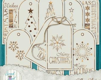 Printable Gift Tags for Christmas, Xmas Hang Tags, Santa Claus, Stationery, Collage Sheet, Paper Craft Supplies - Goldspun Christmas
