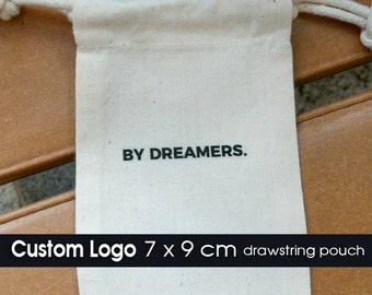 100 CUSTOM Logo Printed Drawstring Pouches Bags - Wedding Favors, Gifts Packaging - Bags Supply for Jewelry, Accessories