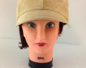 Vintage 60s Brimmed Cap, Mod Newsboy Cap, Golden Tan Suede Hat, Cloche Brim Cap, Mod  Hat