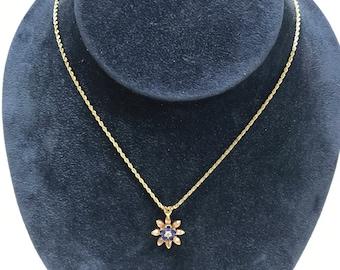 "Cute Vintage 16"" 14K Yellow Rose Gold Necklace Diamond Sapphire Flower Pendant"