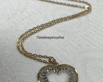 Lovely Two Tone 10k Yellow & White Gold Filigree Heart Pendant + Gift