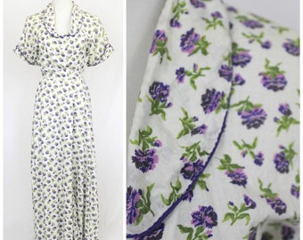 Vintage 40's WW2 KAMORE Waffle Cotton Frock Day Dress Romantic Purple Carnation Floral Hostess Maxi Gown