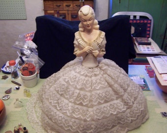 Vintage chalk ware lady woman with fan boudoir lamp shade lace skirt