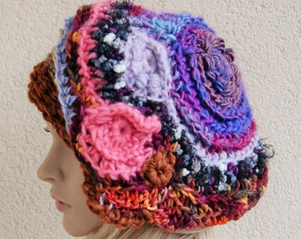 Asymmetric absolutely crazy hat, crazy freeform crochet beret, wool, acrylic, mohair, gift for Christmas