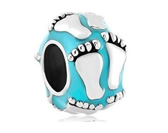 Baby Boy Charm Bead, New Baby, Newborn Footprint, Large Hole Bead, European Bead, Charm Bracelet, European Charm, Big Hole Bead, Blue