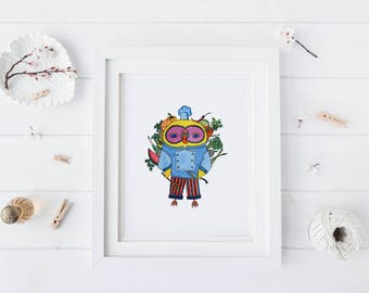 Chef Owl, Watercolor Art Print