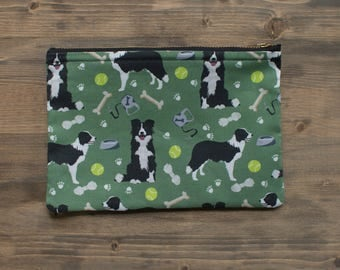 Border Collie Zipper Pouch, Makeup Bag, Boreder Collie, Pencil Pouch, Zipper Pouch, Cosmetic Bag, Toiletry Bag