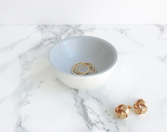 White + Grey Jewelry Holder | Ring Holder | Engagement Ring Holder | Ring Bowl | Earring Holder | Earring Bowl