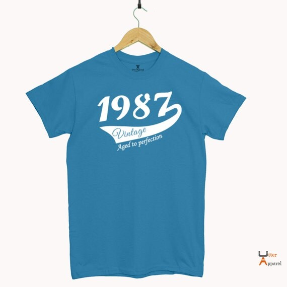 30 birthday gift for man Round Crew Neck T Shirt 1987 Vintage Print Sizes S-2XL Other colors available