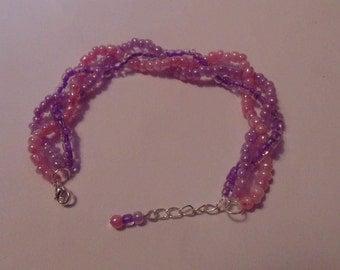Multistrand Braided Pink & Violet Bracelet