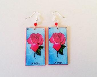 La Rosa earrings- loteria earrings, rosa earrings, la loteria
