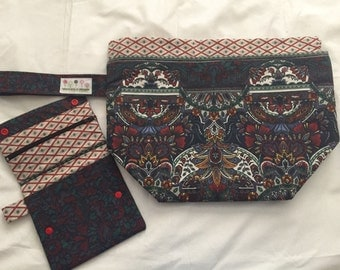 Large Drawstring Project Bag and Organiser Notion Pouch Kit