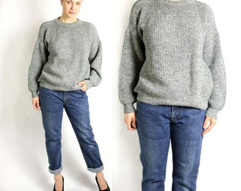 Vintage 80's 90's Lee Cooper Grey Chunky Knit Sweater Oversize