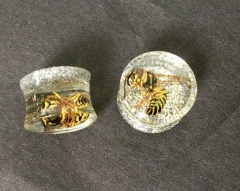 "14mm Wasp Ear Plugs Gauges Pair 9/16"",Insect Plugs, Creepy Cute Real Bug Yellowjacket Wasps Silver Glitter Body Jewelry: MAGIC EARS by {118}"