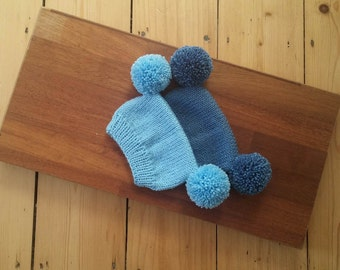 Blue shades hand knitted baby hat with two pompoms, unique and cute hat for newborn, knit hat with two pom poms, twins photo prop