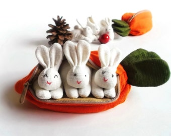 3 bunnies in carrot purse, Bunny toy, Suffed bunny, Home decor, Bunny easter, Easter