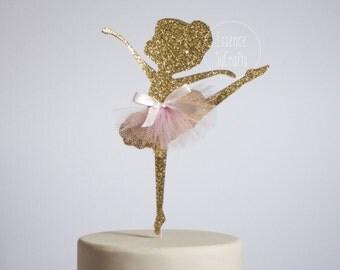 Ballerina Cake Topper, Cake Topper. gold Ballerina, glitter gold cake topper, ballerina cake topper, baby shower cake topper