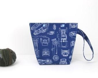 Car knitting project bag, small knitting bag, blueprint sock project storage