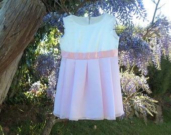 Little girl pink and white for ceremony, wedding, christening dress