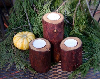 Set of 3 Cedar Candle Holders - Tung Oil Finish