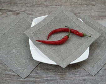 Linen coaster - coaster set - small napkin - vine napkins - fabric coasters - small vine napkins - wedding coasters
