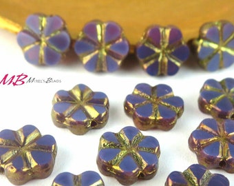 15 Purple Opaline Bronze Flower Beads, Metalic Bronze Finish, 10mm Purple Flower