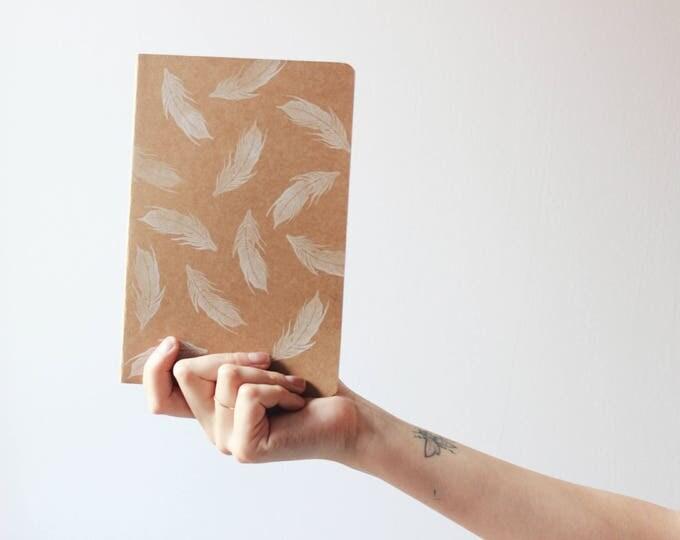 Handmade notebook, feathers notebook, summer notebook, summer journal, minimal notebook, made in barcelona, bookbinding, kraft notebook