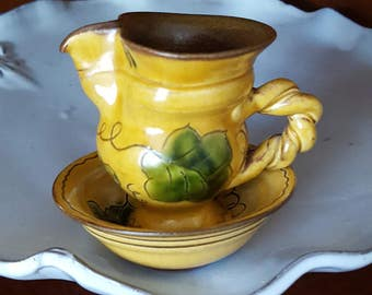 Mini Pitcher & Bowl~Hand Painted Majolica Lichtenstein~European Pottery~Vintage Cream Pitcher~Grape/Leaves~Yellow, Green~JewelsandMetals