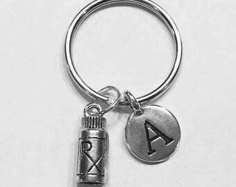 Medicine RX Keychain, Initial Keychain, Nurse Keychain, Pharmacist Gift, Pharmacy Tech Medical Keychain, Gift Initial Keychain