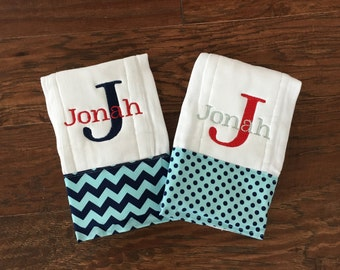 Burp Cloth. Baby Burp Cloth. Diaper Burpcloth/Cloth diaper Burp / mint and navy polka dot. chevron - set  - Baby Shower- Baby Gift - Newborn