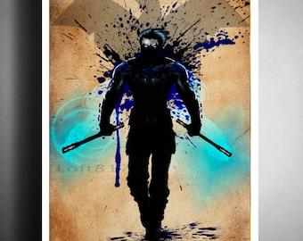 Nightwing wall art, superhero art, nerdy wall art, superhero splatter art
