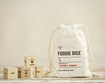 Foodie Dice® Seasonal Dinners Pouch / Laser engraved dice for cooking ideas / Gift for foodie, Cooking gift, Hostess gift
